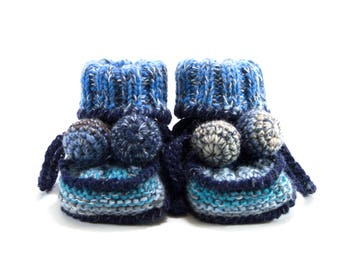 Knitted Baby Booties - Blue, 0 - 3 months