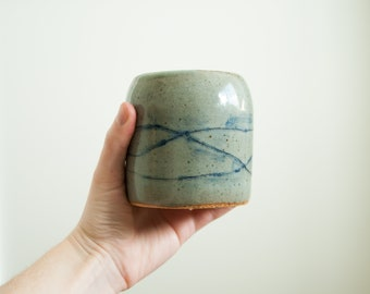 Wave Tumbler // ceramic cup, ceramic tumbler, handthrown cup, handthrown tumbler, handmade tumbler, stoneware tumbler