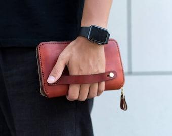 Men's Travel Wallet,Passport Organizer, Man Clutch Wallet, Travel Passport Holder, Boarding Pass Holder, Leather Passport Wallet Zipper