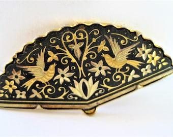 Damascene Fan Brooch, Vintage Birds in Flight,  Spain Damascene, Gold Tone Pin