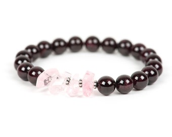 Red Garnet, Rose Quartz Bracelet, Stretch, Gemstone Bracelet, Handmade Jewelry, Gemstone Jewelry, unique-gift-for-wife, chakra, mothers day