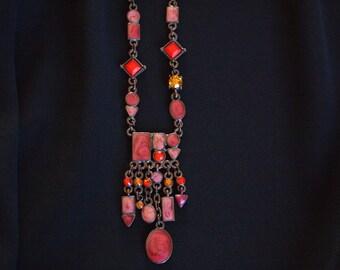 Vintage Boho Necklace, Enamel Style Necklace, Pink Necklace