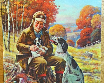 Vintage A. Cucchi Hunter With Birddogs Sample Calendar Print
