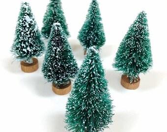 "Miniature Bottle Brush Trees (5), 2.5"" Sisal Tree, Bottlebrush Tree, Christmas Tree, Woodland Craft Supply, Mini Xmas Tree, Green Mini Trees"
