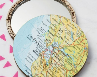 Personalised Map Location Pocket Mirror - map compact beauty mirror - bombus map mirror - Bridesmaid mirror - gift for her