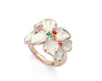 Dogwood Flower Stone Ring