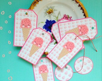 Ice cream kawaii DIY printable tag- Digital Download