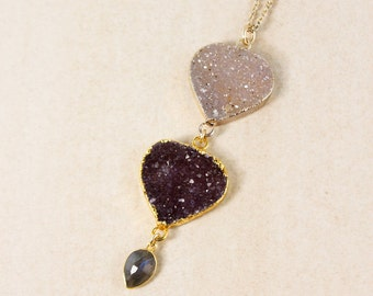 50% OFF SALE - Gold Purple Druzy & Blue Labradorite Necklace - Layering Necklace - Boho Jewelry