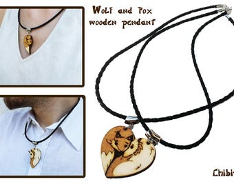 Fox and wolf couple necklace laser name