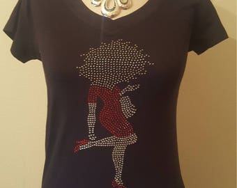 Greek Delta Bling shirt with lady with red