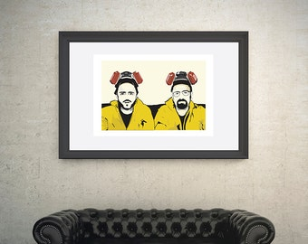Breaking Bad, Yellow suits. Walter White and Jesse Pinkman Poster. A4, A3 and A2 poster sizes available. By Mike Moran