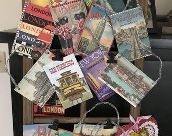 Embellished Vintage Postcard Gift Tags