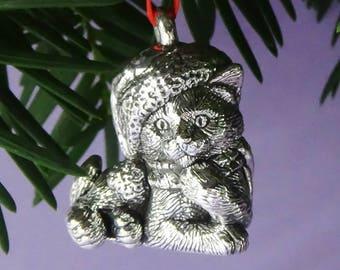 Thinking Kitten Silver Ornament, Cat Christmas Ornament, Sterling Silver Ornament, Cat Lover Gift, Thinking Cat in Hat, Handmade Ornament