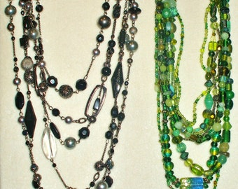2 Vintage Multi Strand Glass Beaded necklaces