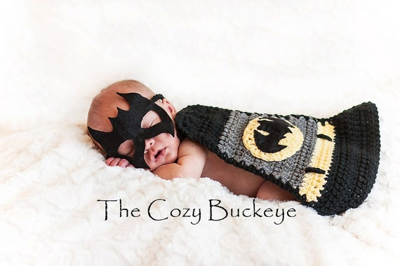 Instant download crochet pattern newborn baby batman cape mask set photography prop superhero cape halloween costume from thecozybuckeye on etsy