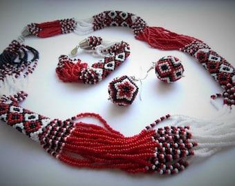 Ukrainian handmade.Most popular Ukrainian jewelry. Ukrainian National Embroidery Necklace.Best gift idea. Patriotic Ukrainian Set.
