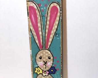 Long ear Bunny Print, Mounted Print, Easter Decor, Easter little sign, Bunny Sign