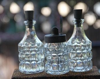 Vintage Cut Glass Cruet set (3)