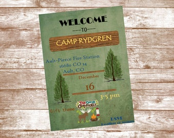 Camp/Outdoors Birthday/Christmas Party Invitation