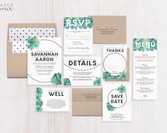 Wedding Invitation | Succulent Wedding Invitation Suite | Palm Springs Invitation | Succulent Invitation | Printed Wedding Suite | Savannah