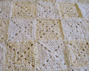 White and Yellow Afghan, Granny Square Blanket