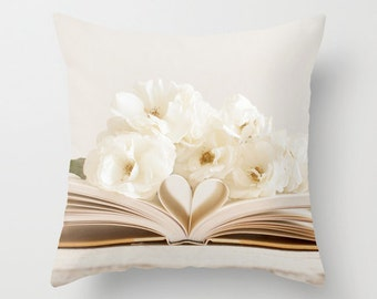 Flower Pillow Case - Book Pillow Cover - White Rose Pillow - Heart Pillow Case - 16x16 18x18 20x20 Pillow Cover