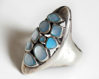 Sterling Silver Ring, with Blue Precious Stones, from Paris