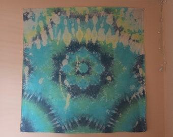 Bleached tie dye mandala tapestry