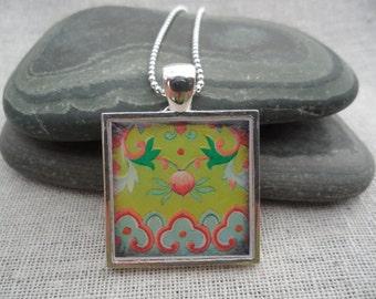 Green Necklace - Green Jewelry- Flower Pendant - Simple Necklace - Flower Art Pendant with Silver Necklace - Square - Unique & Fun Jewelry
