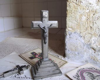 French Vintage standing metal Art Deco crucifix.