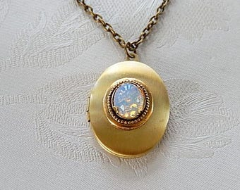 Faux Opal Locket, Locket Necklace, Gift for Her