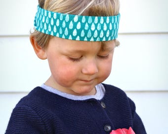 Rain Boy Band / Stretchy Boy Headband / Fabric Headband for Boys / Tie-on Boy Bandana Headband / Boy Accessory / Boy Gift / Spring headband