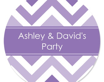 24 Chevron Purple Circle Stickers - Personalized Baby Shower, Birthday Party, or Bridal Shower DIY Craft Supplies
