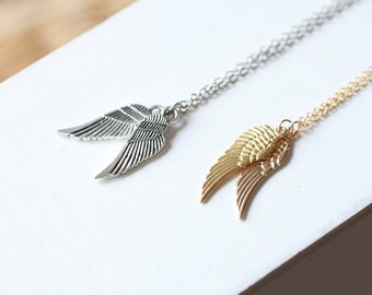 Tiny Angel Wing Necklace - Silver plated ---SILVER- Angel wings