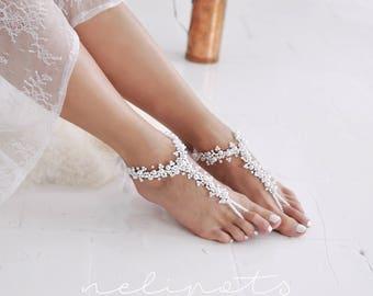 Beach Wedding Foot Jewelry, Bridal Crystal Pearl Boho Slave Anklet,Boho Wedding,Flower Girl Shoes,Footles Sandles,QIANA BAREFOOT SANDALS