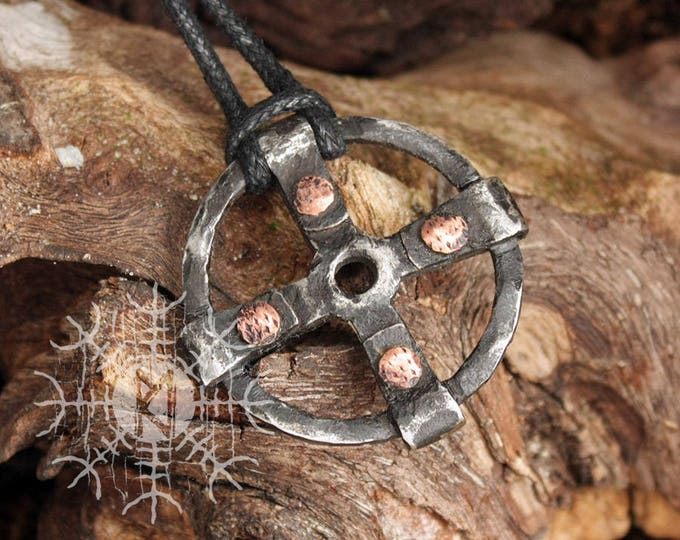 Forged Iron Solar Sun Odin Cross Wheel of Taranis Handmade Viking Amulet Pendant Necklace