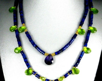 Lapis Necklace, Blue Lapis Stone, Purple Crystal, Lapis Lazuli Choker, Lime Green Crystal, Handmade Jewelry, Real Lapis, Gift for Her