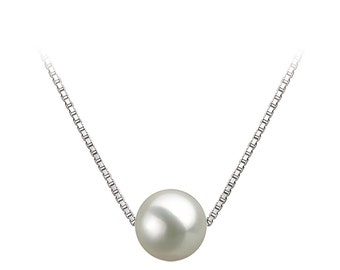 """Japanese AAAA White Freshwater Pearl Pendant Necklace 16""""/18"""" Sterling Silver Matching Chain Floating Pearl Pendants"""