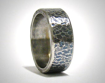 Rustic Mens Wedding Band Engagement Promise Ring Stainless Steel Wedding Ring Mens Wedding Ring Mens Steel Ring Hammered Ring Rustic Ring
