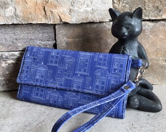 Dr Who Tardis inspired print trifold wallet