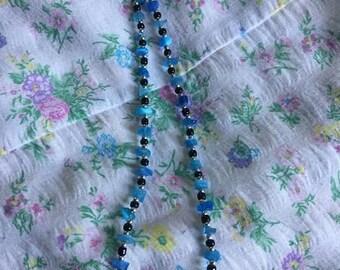 Vintage boho blue bead beach necklace