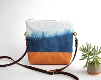 Waxed Canvas and Leather Indigo-dyed Convertible Crossbody Bag/Clutch - prairie/cloud - LAST ONE