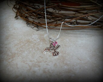Hummingbird necklace, Sterling silver bird necklace, Hummingbird outline
