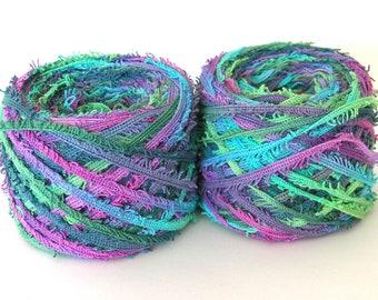 Hand Dyed Cotton Yarn Worsted Weight Tape Fringe Yarn Jewel Novelty DIY Crafts Kids Yarn 218 yards - Mermaid