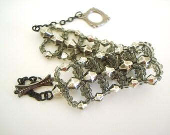 Gray Loop Bracelet - neutral color monochrome bracelet - gunmetal bracelet - spiral bracelet - flat spiral - gray spiral - gunmetal gray