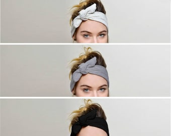 Headbands for women, Black Grey Ivory SET of 3, Adult headband woman