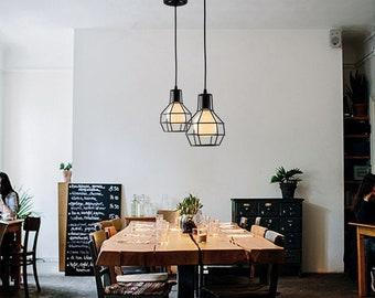 Modern Industrial Scandinavian Iron Cage Geometric Pendant Lamp Light