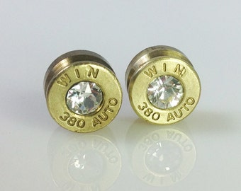 380 Winchester with Swarovski Crystal Bullet Shell Casing Stud Earrings