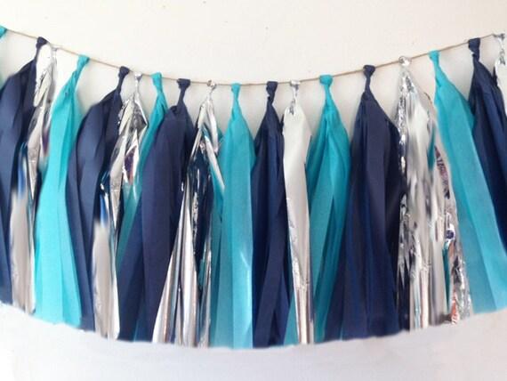 Tissue paper tassel garland Navy blue turquoise blue