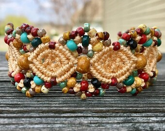 SALE Micro-Macrame Beaded Cuff Bracelet - Tribal Mix